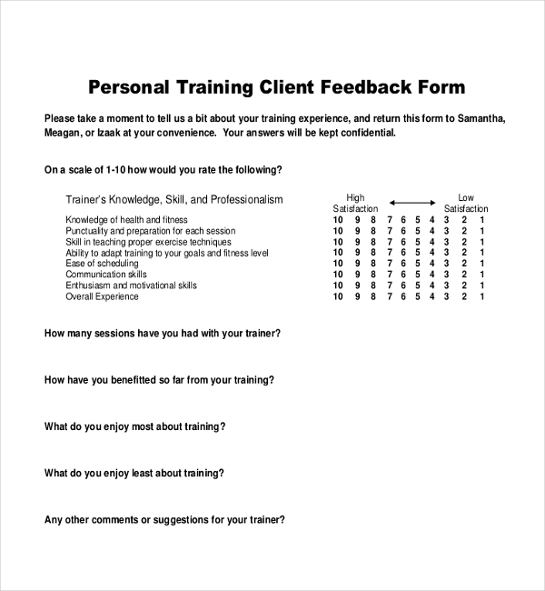 Client Feedback Form. Restaurant Service Feedback Form | Sample ...