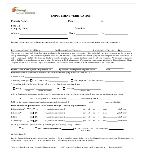 georgia employment verification form