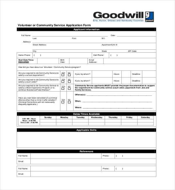12+ Sample Community Service Forms | Sample Forms