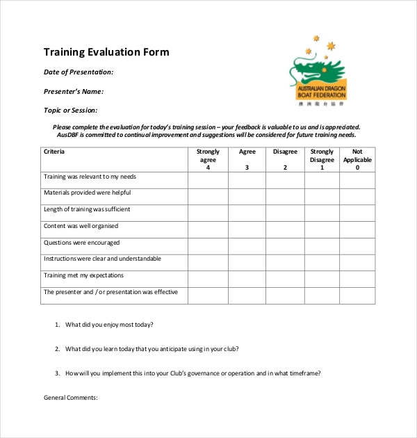 19 Sample Training Evaluation Forms – On the Job Training Evaluation Form