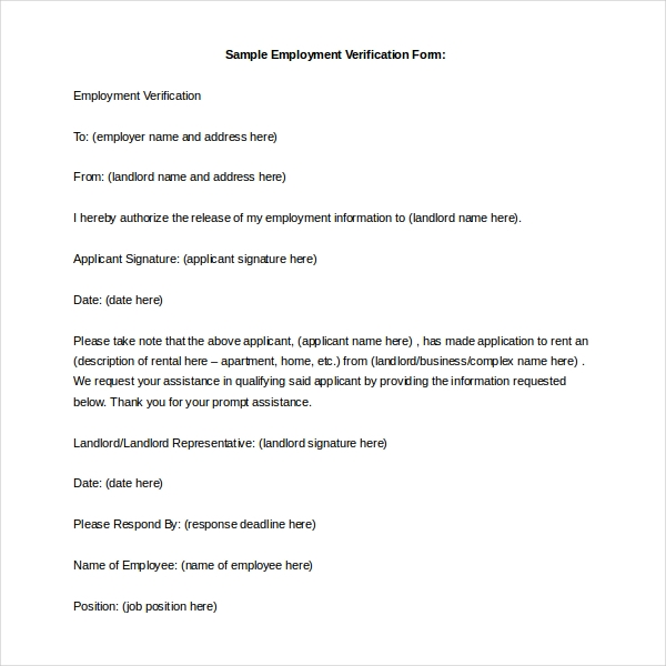 Best Landlord Employment Verification Form Gallery - Best Resume