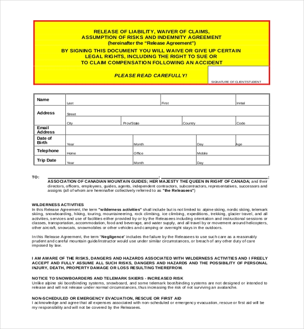 Sample Liability Release Forms 10 Free Documents in PDF Word – Liability Waiver Form