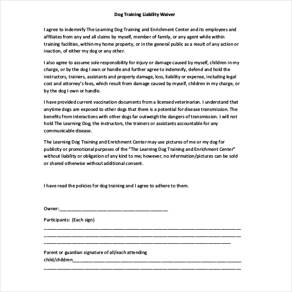 liability release form dog training