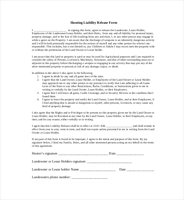 Hunting Liability Waiver