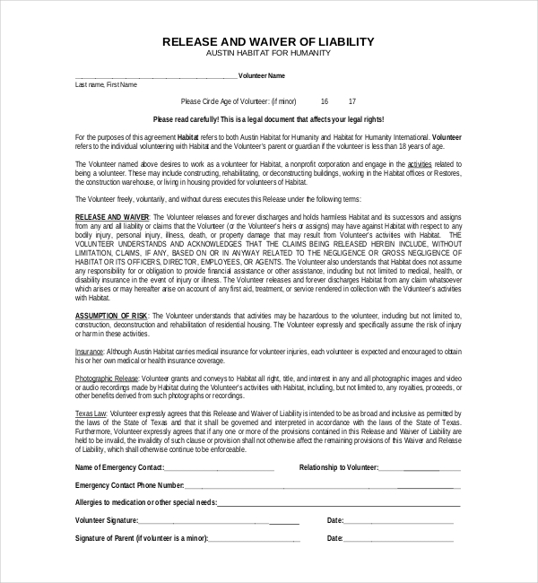 Liability Release Form Texas  Generic Release Of Liability Form