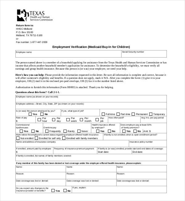 Employee Verification Form. Proof Of Employment Letter Template 35 ...