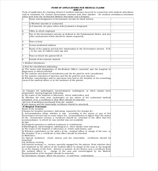 medical claim form for central govt employee