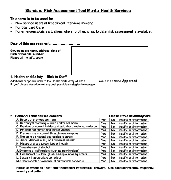 risk assessment template mental health 12 sample health risk assessment forms sample forms