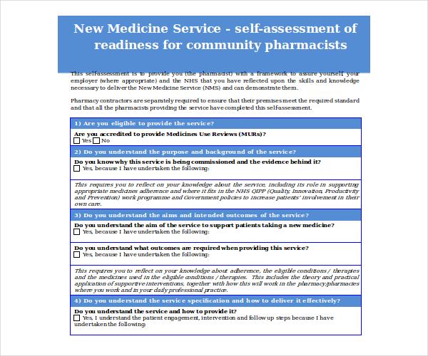 new medicine service self assessment form