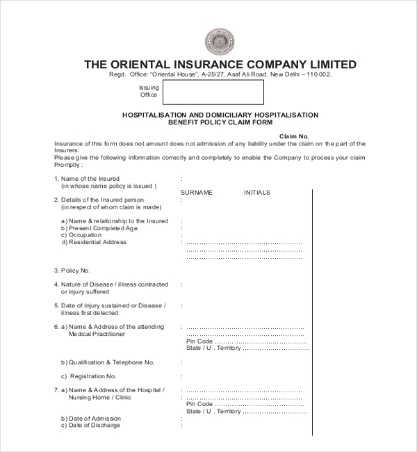 oriental insurance medical claim form