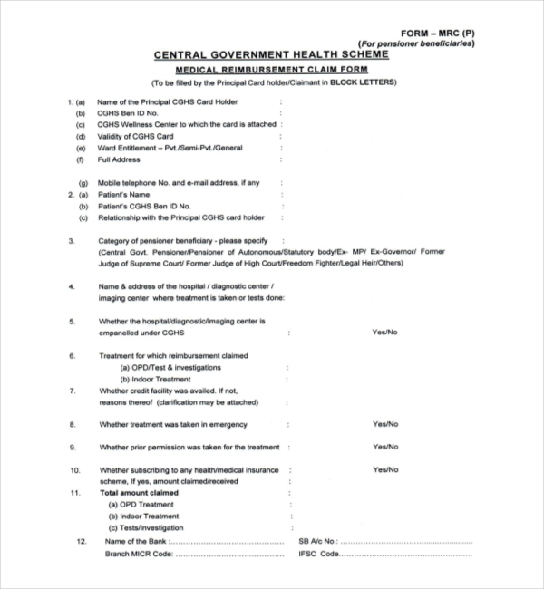 pensioner medical claim form