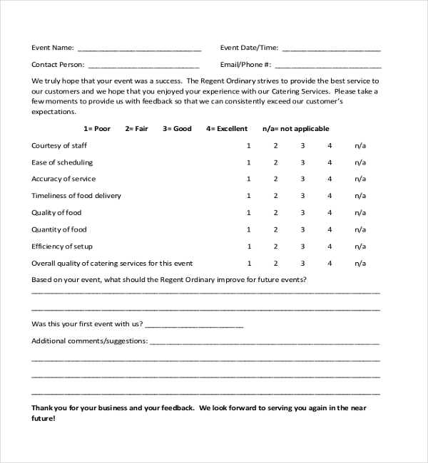 Sample Customer Feedback Form   Free Documents In Pdf