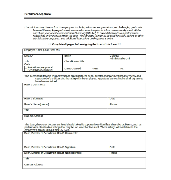 Sample Employee Appraisal Forms  Free Sample Example Format