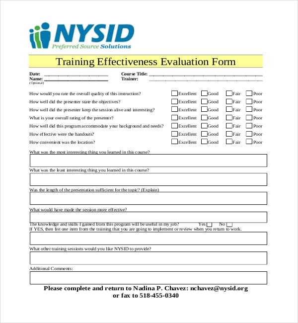 Sample Training Evaluation Forms  Sample Forms