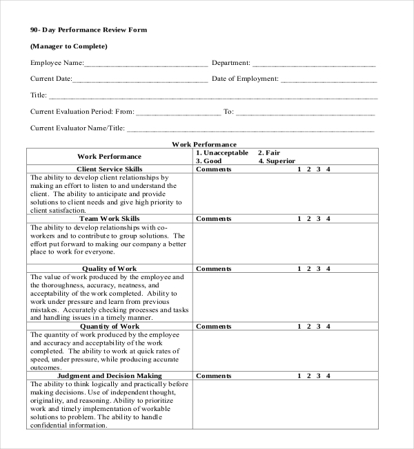 90 day employee review form