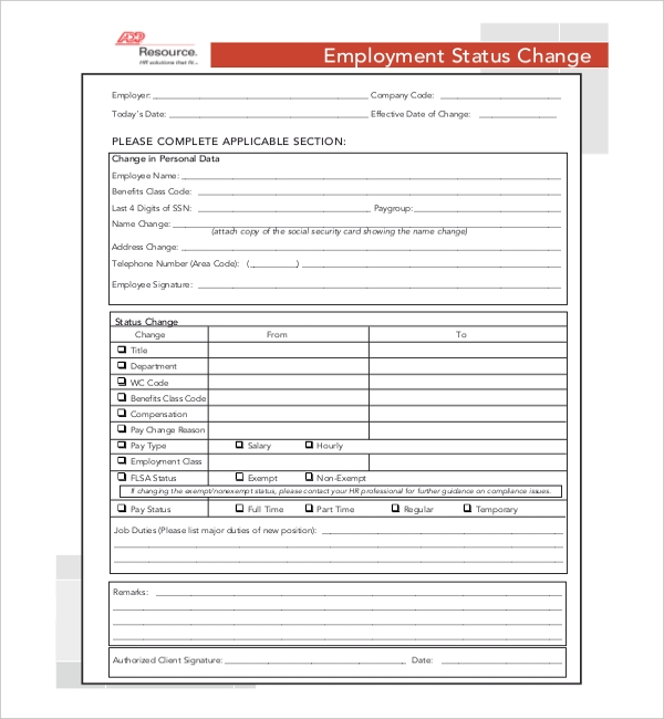 adp employee status change form