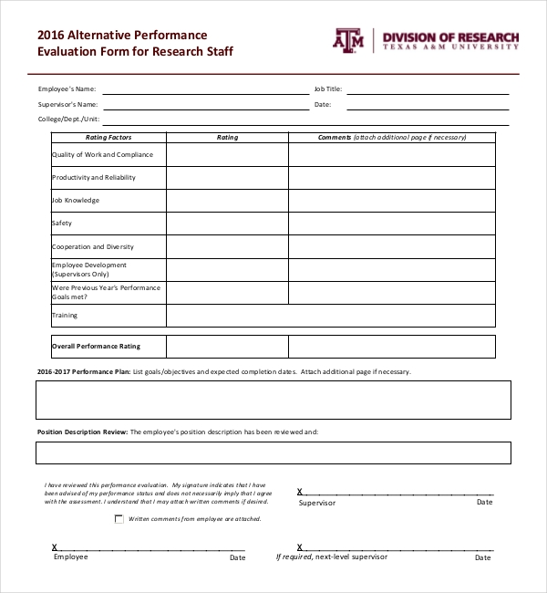 10 Sample Performance Evaluation Forms – Sample Employee Evaluation Forms