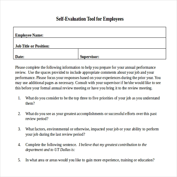 Annual Performance Appraisal Self Evaluation Tool For Employee
