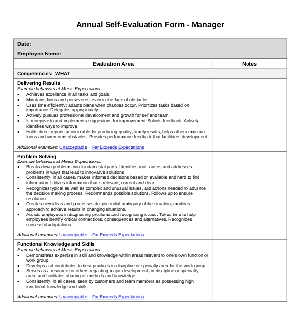 Sample self evaluation forms 11 free documents in word pdf for Yearly employee review template