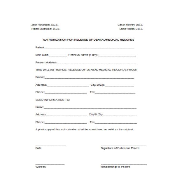 authorization for medical records release form