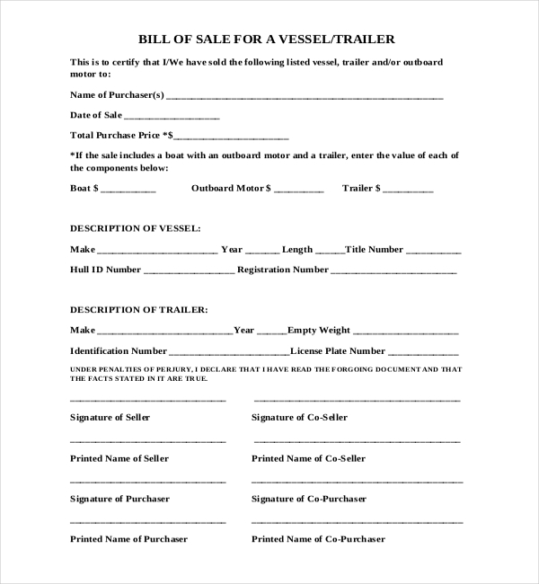 bill of sale for a vessel trailer