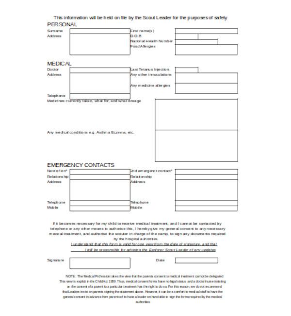 basic child medical consent form