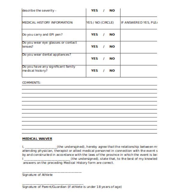 basic medical waiver form