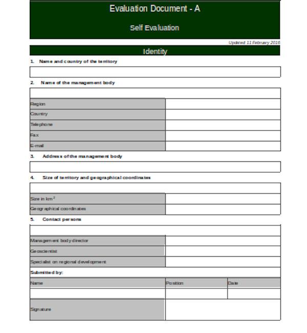basic self evaluation form