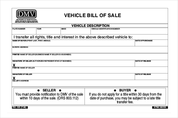 bill of sale oregon department of transportation