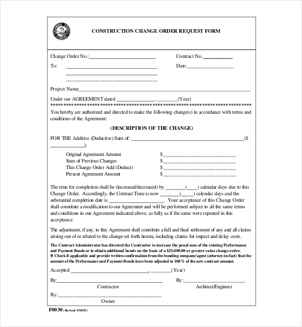 Sample Construction Change Order Forms Sample Forms - Construction contract change order template