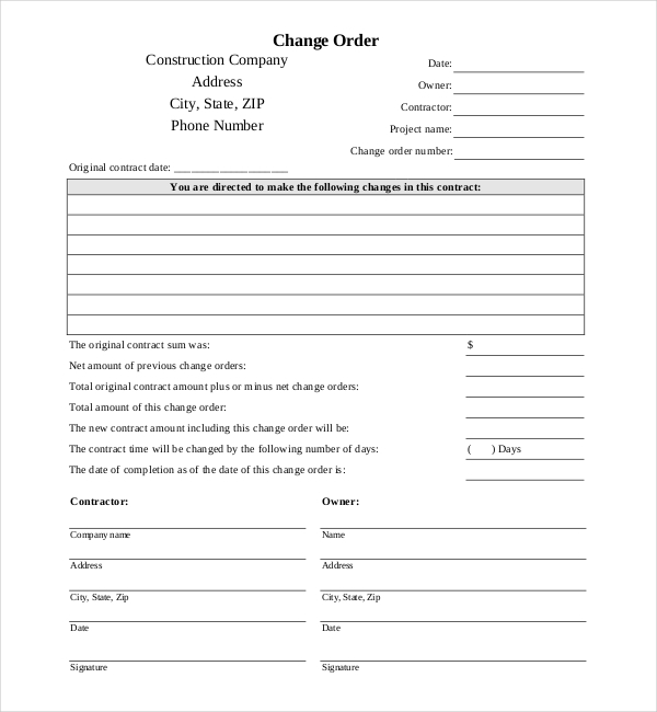 Sample Construction Change Order Forms  Sample Forms