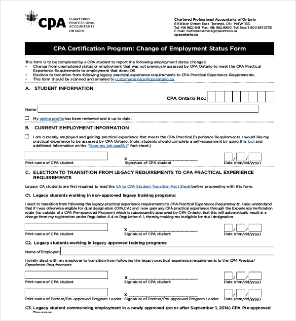 change of employment status form