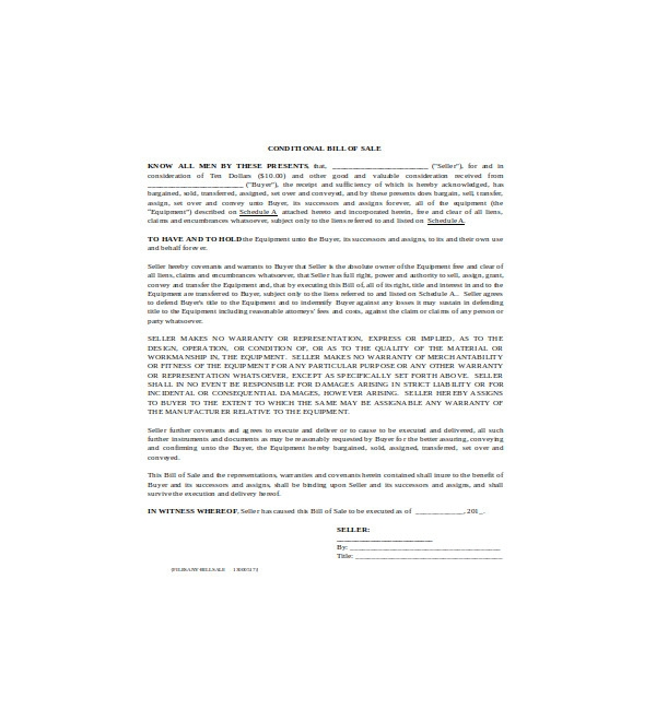 conditional equipment bill of sale form