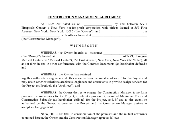 construction management agreement form
