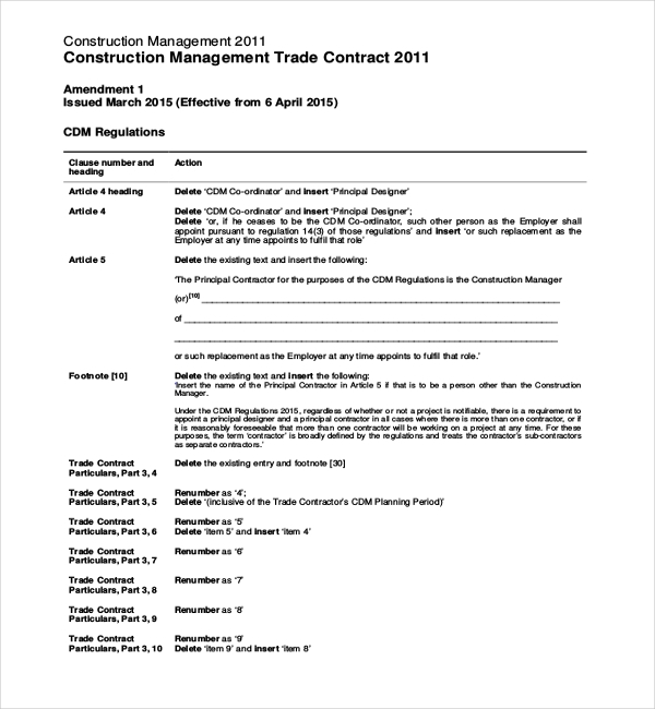 construction management trade contract