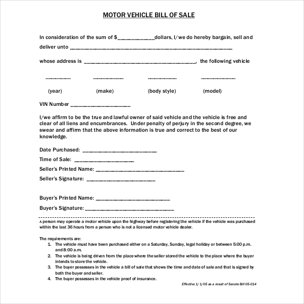 15+ Sample Dmv Bill Of Sale Forms | Sample Forms