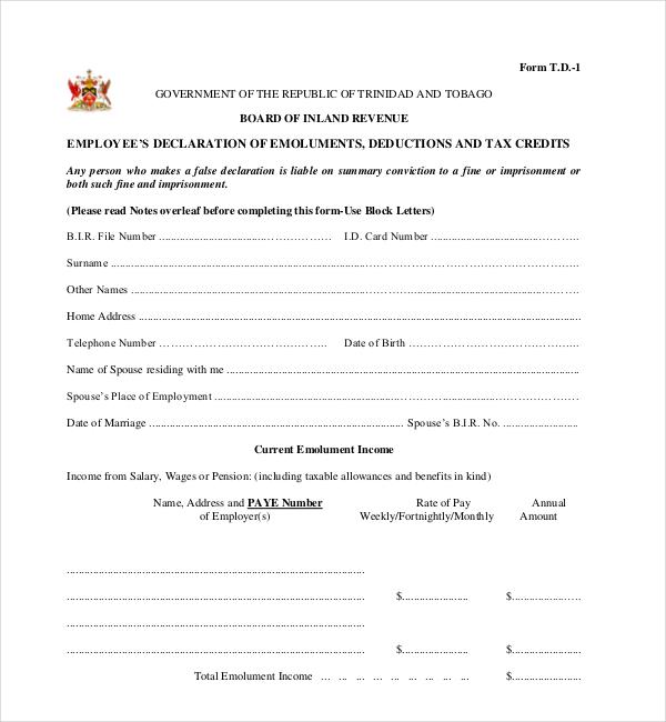 employee's declaration of emoluments