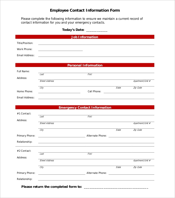 11 sample employee information forms sample forms for Update contact information form template