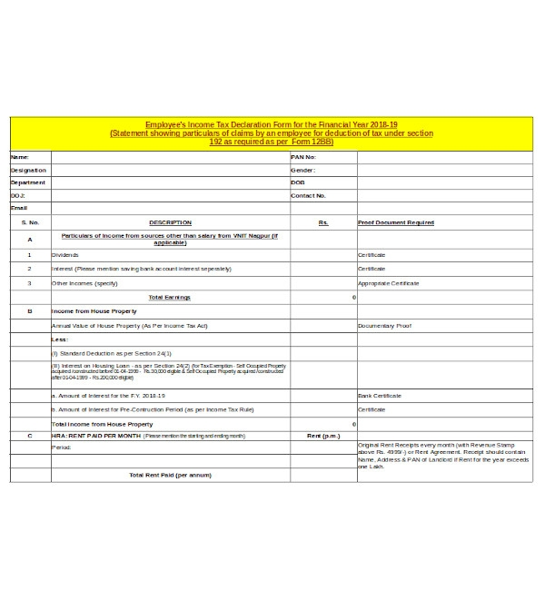 employee income tax declaration form