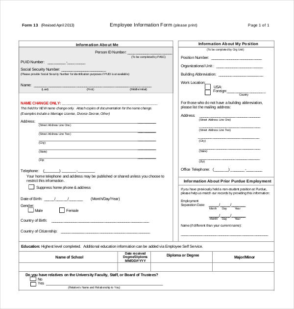 employee information form 13