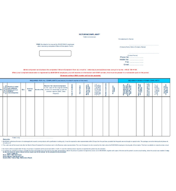 employee return complaint form
