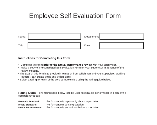 FREE 11+ Sample Self Evaluation Forms in PDF | WORD