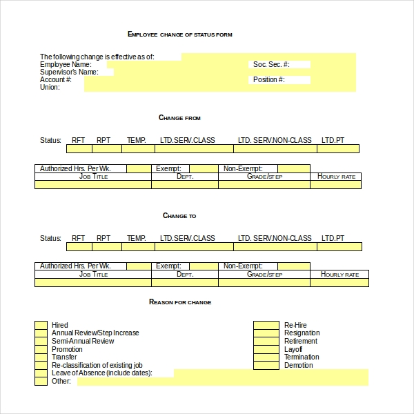 Sample Employee Status Change Forms  Pdf Word Download