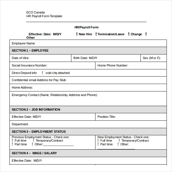 Employment Status Salary Change Form