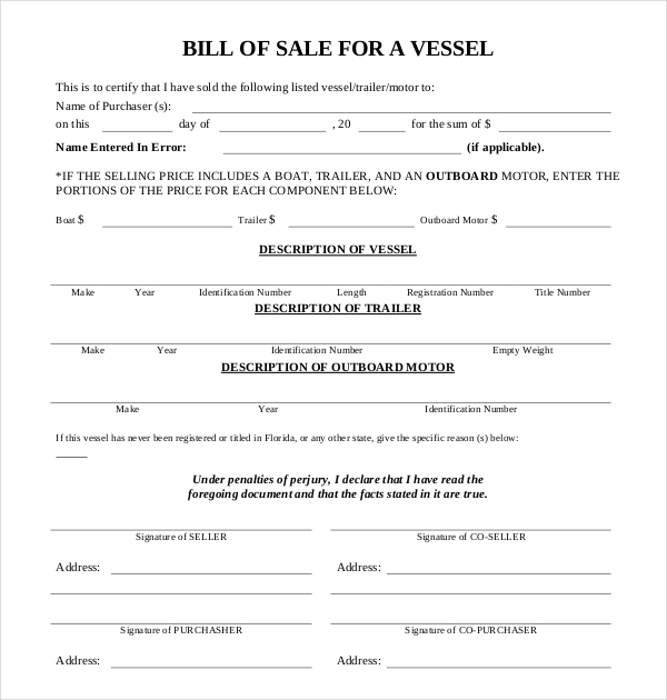 free bill of sale for a vessel download