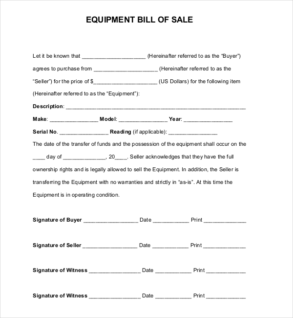 7+ Sample Equipment Bill Of Sale Forms | Sample Forms
