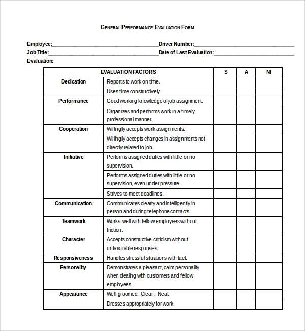 10 Sample Performance Evaluation Forms – Performance Evaluation Form