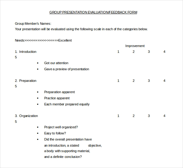 Presentation Evaluation Template. Formal Presentation Evaluation