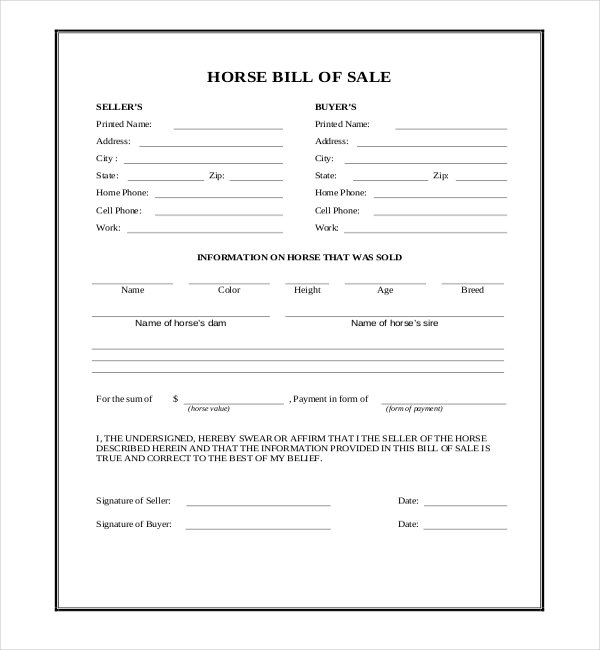 sample horse bill of sale forms 7 free documents in pdf word