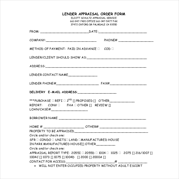 Lender Appraisals: FREE 8+ Sample Appraisal Order Forms In PDF